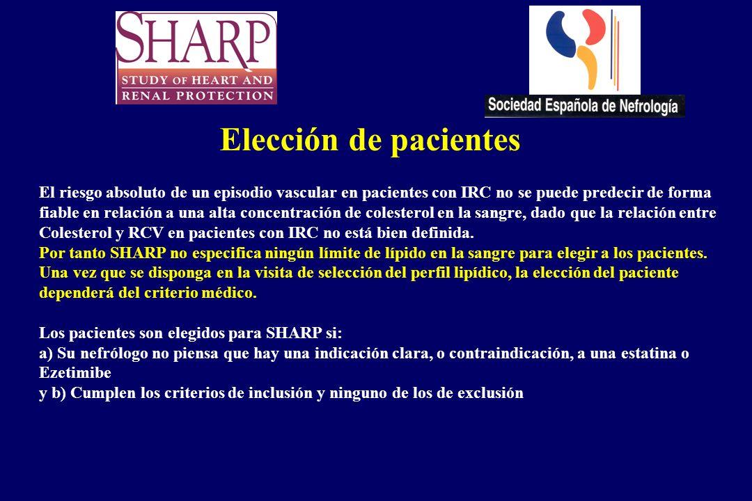 Elección de pacientes El riesgo absoluto de un episodio vascular en pacientes con IRC no se puede predecir de forma fiable en relación a una alta conc