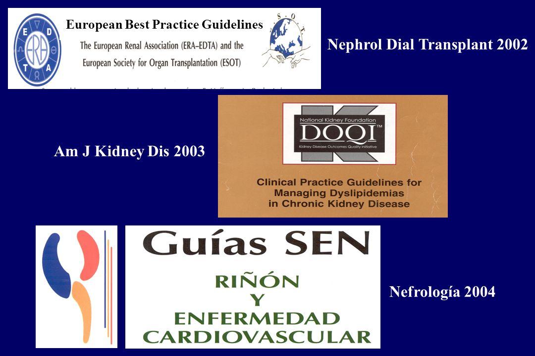 European Best Practice Guidelines Am J Kidney Dis 2003 Nephrol Dial Transplant 2002 Nefrología 2004