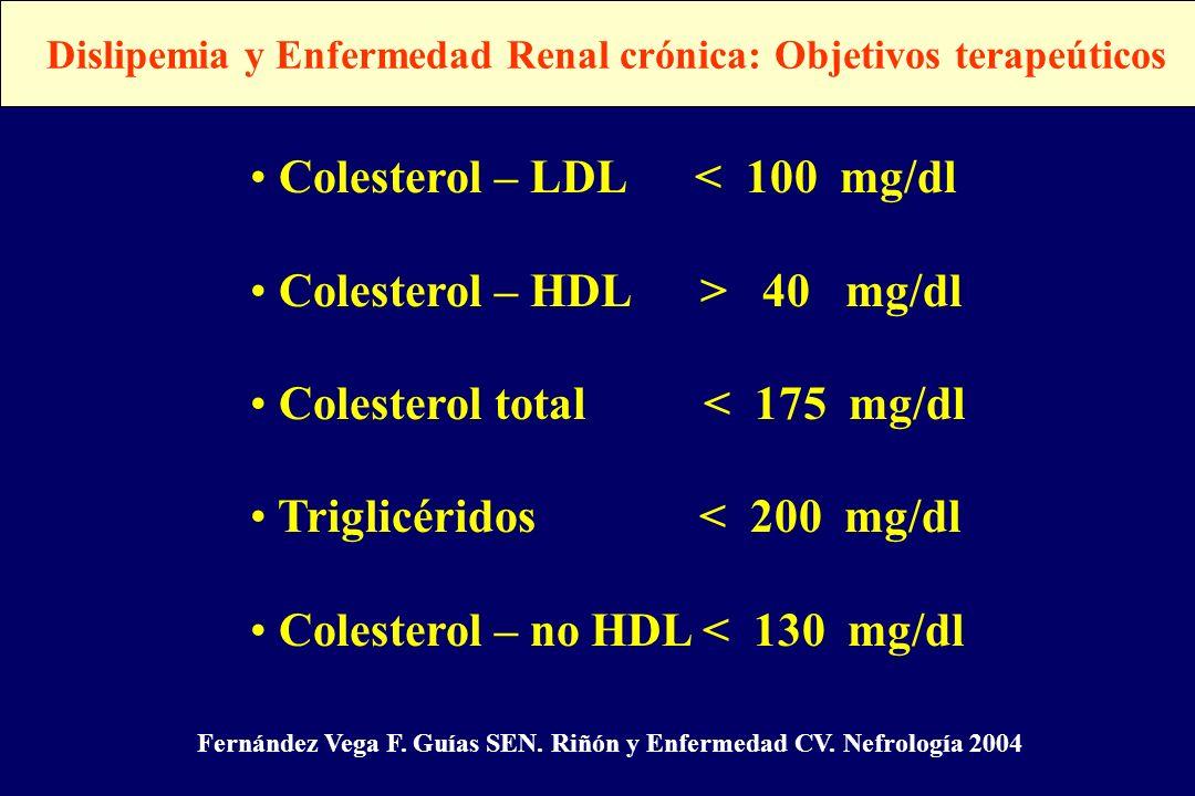 Dislipemia y Enfermedad Renal crónica: Objetivos terapeúticos Colesterol – LDL < 100 mg/dl Colesterol – HDL > 40 mg/dl Colesterol total < 175 mg/dl Tr