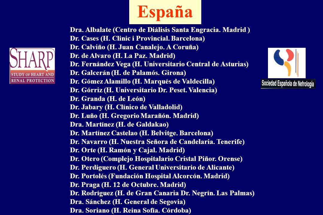 Dra. Albalate (Centro de Diálisis Santa Engracia. Madrid ) Dr. Cases (H. Clinic i Provincial. Barcelona) Dr. Calviño (H. Juan Canalejo. A Coruña) Dr.