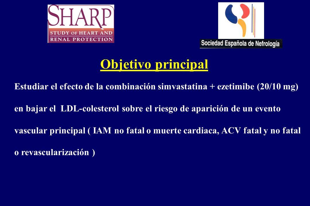 Objetivo principal Estudiar el efecto de la combinación simvastatina + ezetimibe (20/10 mg) en bajar el LDL-colesterol sobre el riesgo de aparición de
