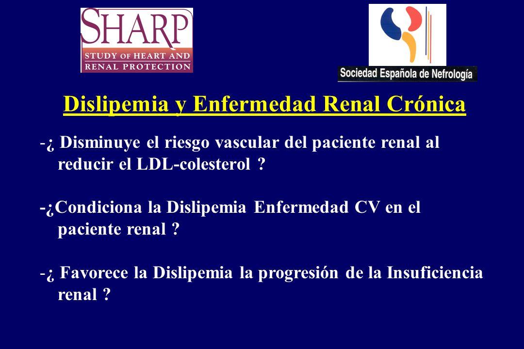 Dislipemia y Enfermedad Renal Crónica -¿ Disminuye el riesgo vascular del paciente renal al reducir el LDL-colesterol ? -¿Condiciona la Dislipemia Enf