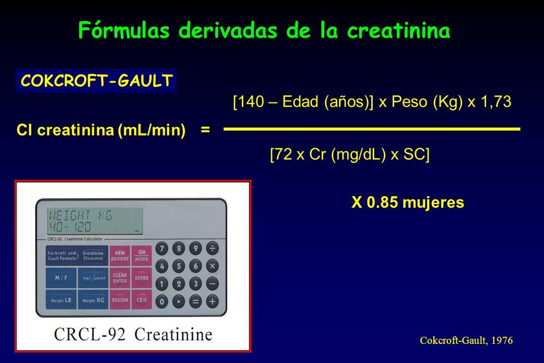 Fórmulas derivadas de la creatinina COKCROFT-GAULT Cl creatinina (mL/min) [140 – Edad (años)] x Peso (Kg) x 1,73 [72 x Cr (mg/dL) x SC] = X 0.85 mujeres Cokcroft-Gault, 1976