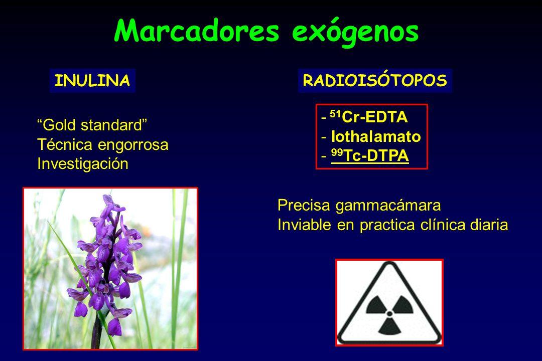 Marcadores exógenos INULINA Gold standard Técnica engorrosa Investigación RADIOISÓTOPOS - 51 Cr-EDTA - Iothalamato - 99 Tc-DTPA Precisa gammacámara Inviable en practica clínica diaria