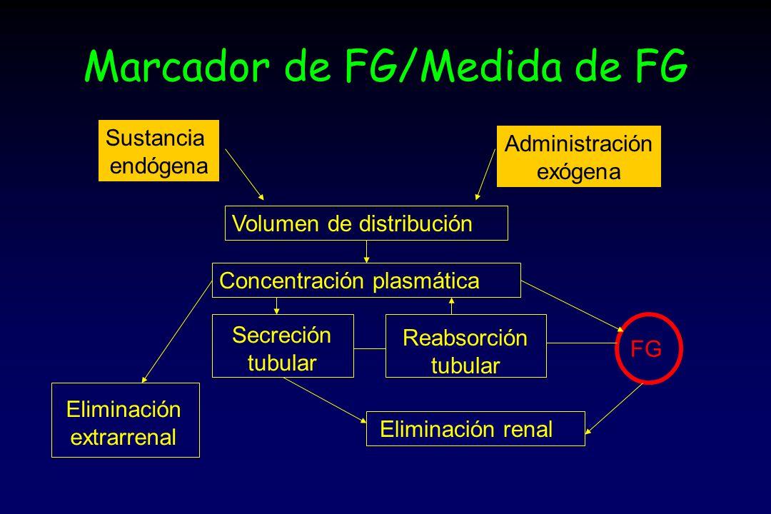 Marcador de FG/Medida de FG Sustancia endógena Administración exógena Volumen de distribución Concentración plasmática Secreción tubular Reabsorción tubular FG Eliminación renal Eliminación extrarrenal