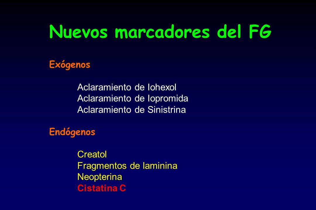 Nuevos marcadores del FG Exógenos Aclaramiento de Iohexol Aclaramiento de Iopromida Aclaramiento de Sinistrina Endógenos Creatol Fragmentos de laminina Neopterina Cistatina C