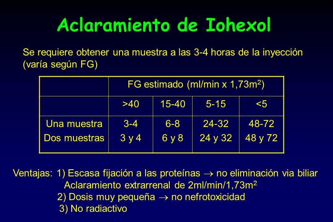 Aclaramiento de Iohexol Se requiere obtener una muestra a las 3-4 horas de la inyección (varía según FG) FG estimado (ml/min x 1,73m 2 ) >4015-405-15<5 Una muestra Dos muestras 3-4 3 y 4 6-8 6 y 8 24-32 24 y 32 48-72 48 y 72 Ventajas: 1) Escasa fijación a las proteínas no eliminación via biliar Aclaramiento extrarrenal de 2ml/min/1,73m 2 2) Dosis muy pequeña no nefrotoxicidad 3) No radiactivo
