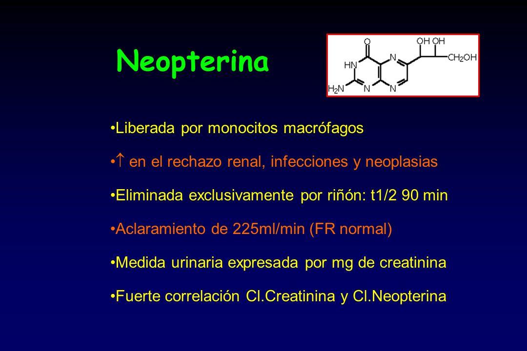 Neopterina Liberada por monocitos macrófagos en el rechazo renal, infecciones y neoplasias Eliminada exclusivamente por riñón: t1/2 90 min Aclaramiento de 225ml/min (FR normal) Medida urinaria expresada por mg de creatinina Fuerte correlación Cl.Creatinina y Cl.Neopterina