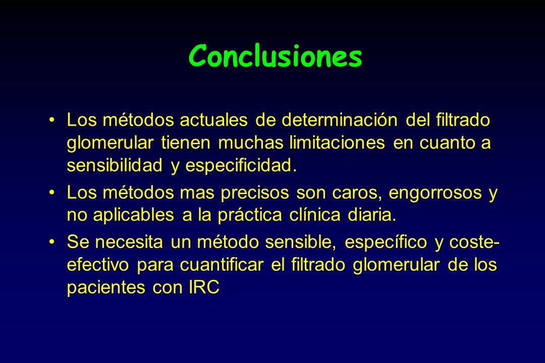 Conclusiones Los métodos actuales de determinación del filtrado glomerular tienen muchas limitaciones en cuanto a sensibilidad y especificidad. Los mé