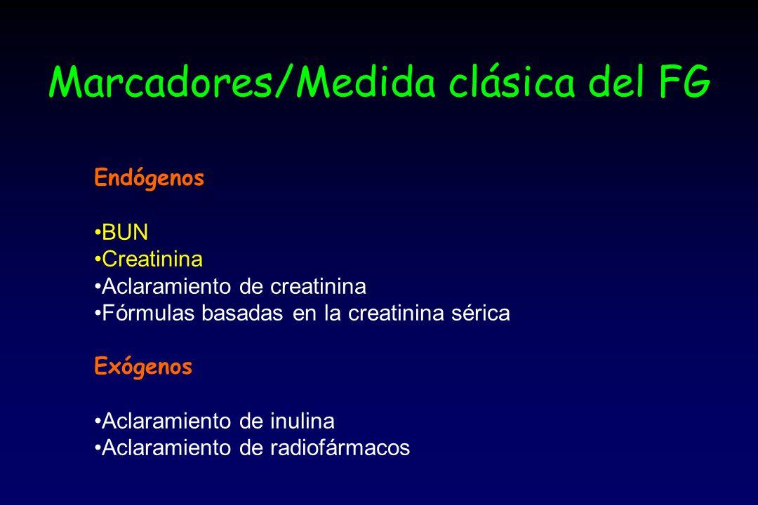 Marcadores/Medida clásica del FG Endógenos BUN Creatinina Aclaramiento de creatinina Fórmulas basadas en la creatinina sérica Exógenos Aclaramiento de inulina Aclaramiento de radiofármacos