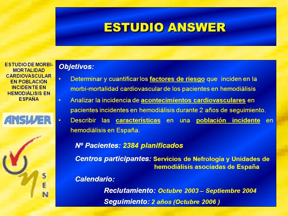 ESTUDIO DE MORBI- MORTALIDAD CARDIOVASCULAR EN POBLACIÓN INCIDENTE EN HEMODIÁLISIS EN ESPAÑA CARACTERÍSTICAS POBLACIÓN INCIDENTE HD EN ESPAÑA - El 52% de los pacientes presentan una Fístula AV Cumplimiento Guías EBPG Hb >11 (g/dl) : 42 % Ferritina > 100- 500 ng/ml : 59% Cumplimiento Guías K/DOQI PTHi = 150-300 pg/ml : 29 % Fósforo = 3.5 - 5.5 mg/dl : 49 % Ca x P < 55 (mg/dl) 2 : 72 % - La Nefropatía Diabética (26%) se presenta como la principal causa de IRC - El 63% de los pacientes presentan un tiempo de seguimiento por parte del Nefrólogo superior a 1año - El 43% de los pacientes inician corrección de la anemia con AEE al comenzar diálisis.
