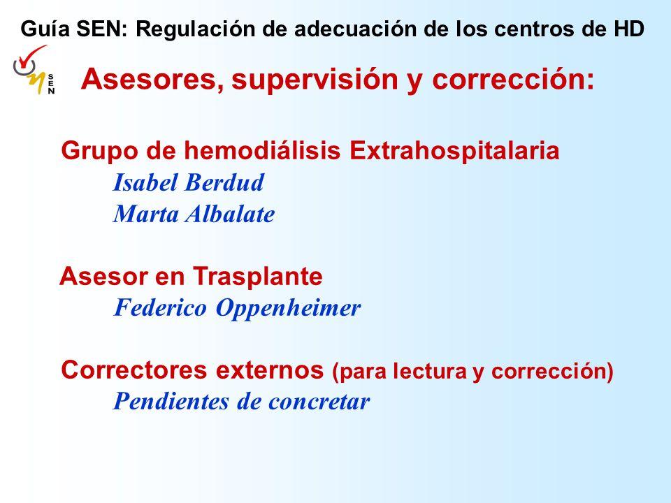 Grupo de hemodiálisis Extrahospitalaria Isabel Berdud Marta Albalate Asesor en Trasplante Federico Oppenheimer Correctores externos (para lectura y co