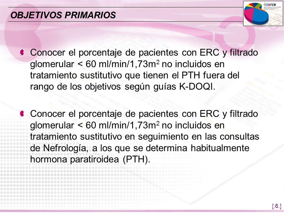 [.6.] Conocer el porcentaje de pacientes con ERC y filtrado glomerular < 60 ml/min/1,73m 2 no incluidos en tratamiento sustitutivo que tienen el PTH f