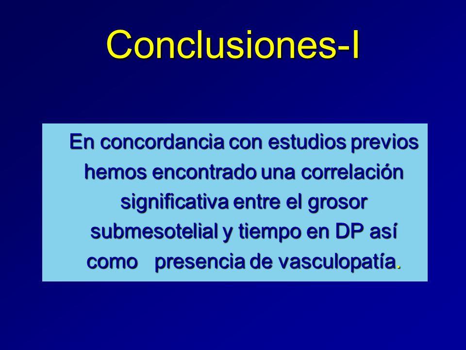 Conclusiones-I En concordancia con estudios previos hemos encontrado una correlación significativa entre el grosor submesotelial y tiempo en DP así co