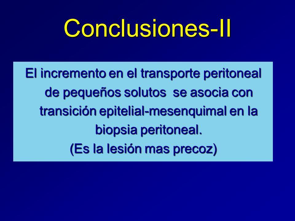 Conclusiones-II El incremento en el transporte peritoneal de pequeños solutos se asocia con transición epitelial-mesenquimal en la biopsia peritoneal.