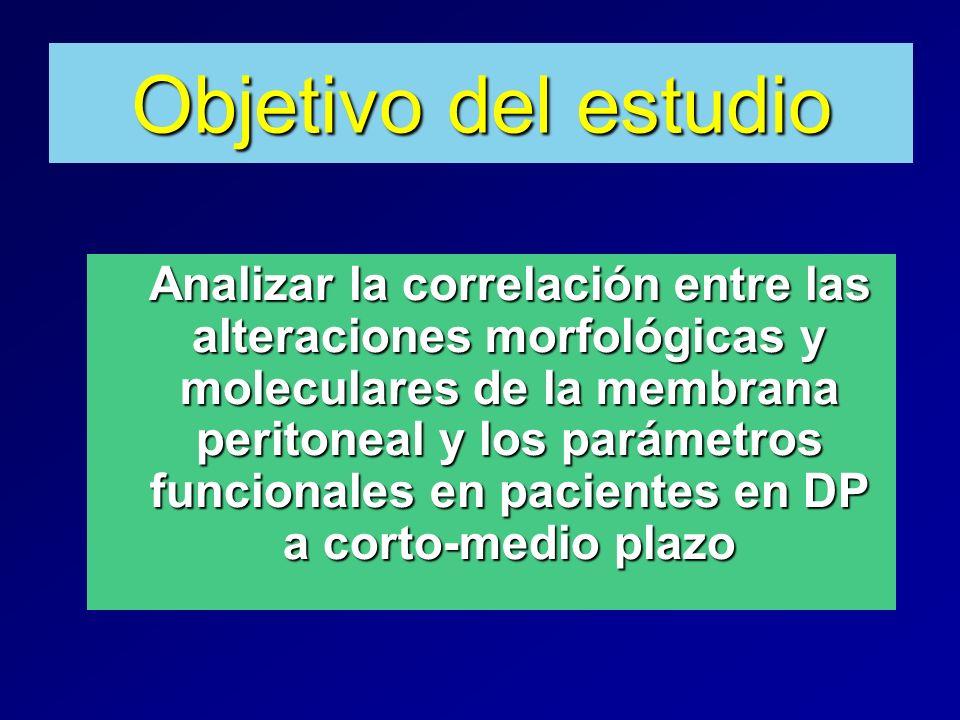 Objetivo del estudio Analizar la correlación entre las alteraciones morfológicas y moleculares de la membrana peritoneal y los parámetros funcionales