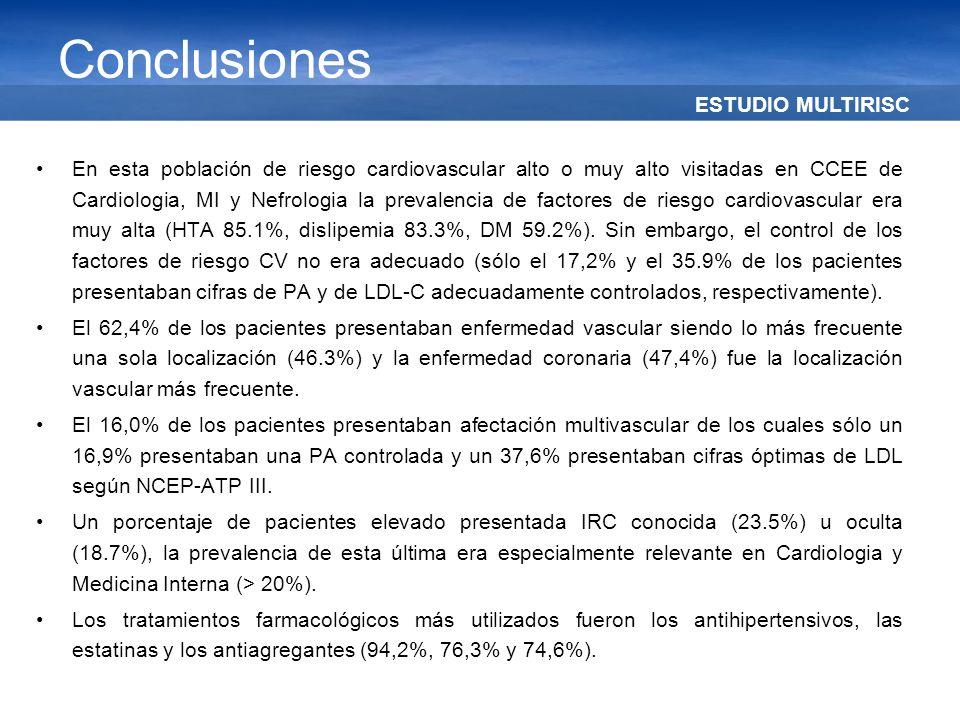 ESTUDIO MULTIRISC Conclusiones En esta población de riesgo cardiovascular alto o muy alto visitadas en CCEE de Cardiologia, MI y Nefrologia la prevale