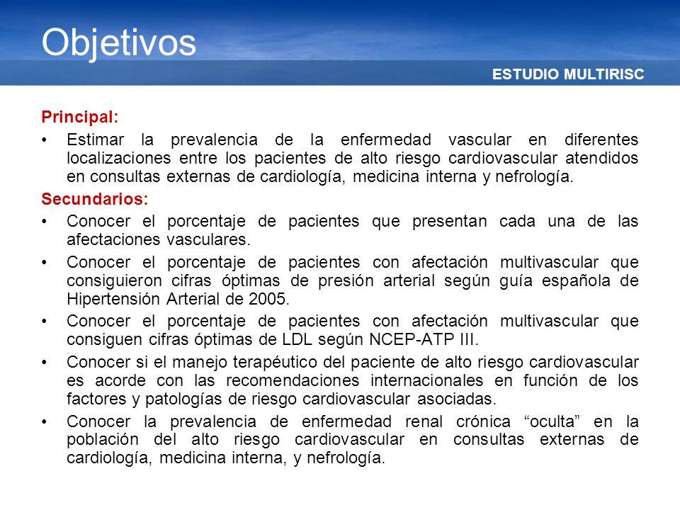 ESTUDIO MULTIRISC Objetivos Principal: Estimar la prevalencia de la enfermedad vascular en diferentes localizaciones entre los pacientes de alto riesg