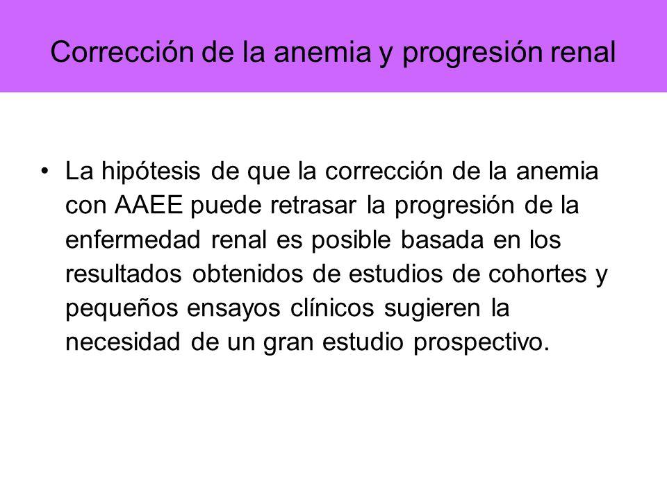 Corrección de la anemia y progresión renal La hipótesis de que la corrección de la anemia con AAEE puede retrasar la progresión de la enfermedad renal