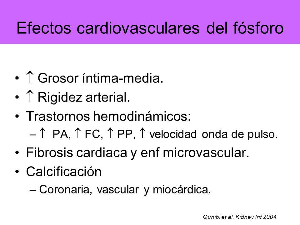 Efectos cardiovasculares del fósforo Grosor íntima-media. Rigidez arterial. Trastornos hemodinámicos: – PA, FC, PP, velocidad onda de pulso. Fibrosis