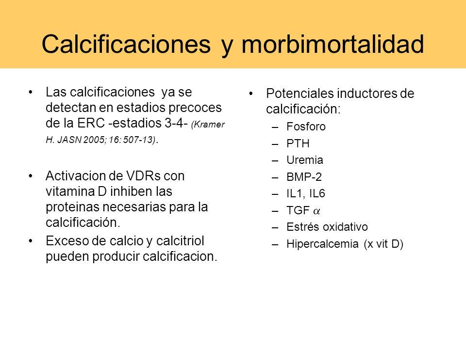 Calcificaciones y morbimortalidad Las calcificaciones ya se detectan en estadios precoces de la ERC -estadios 3-4- (Kramer H. JASN 2005; 16: 507-13).