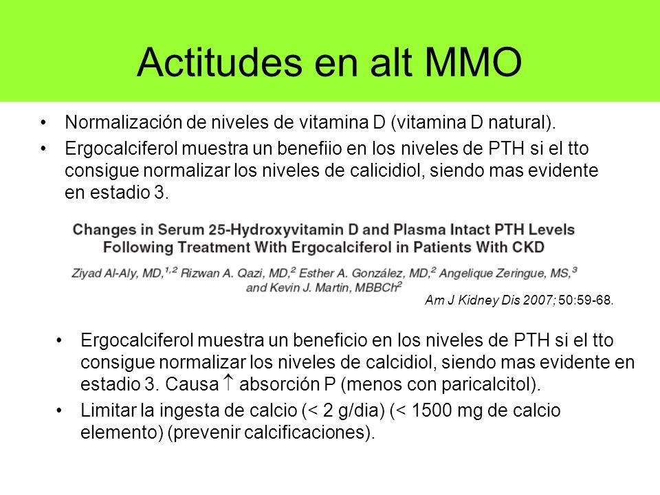Actitudes en alt MMO Normalización de niveles de vitamina D (vitamina D natural). Ergocalciferol muestra un benefiio en los niveles de PTH si el tto c