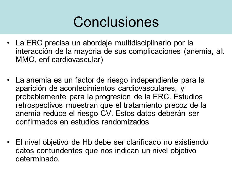 Conclusiones La ERC precisa un abordaje multidisciplinario por la interacción de la mayoria de sus complicaciones (anemia, alt MMO, enf cardiovascular
