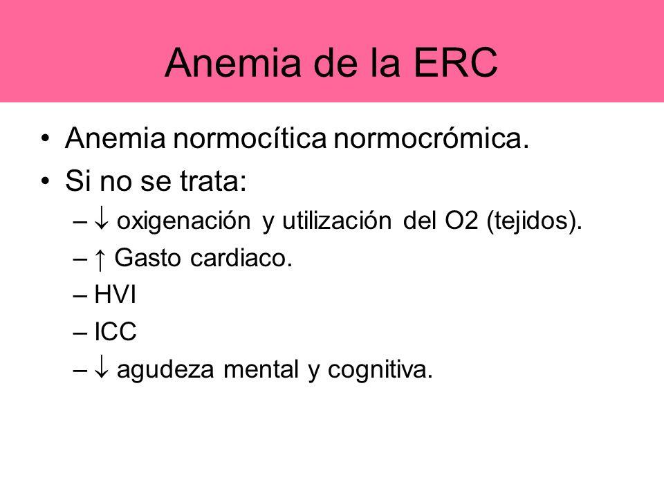 Anemia de la ERC Anemia normocítica normocrómica. Si no se trata: – oxigenación y utilización del O2 (tejidos). – Gasto cardiaco. –HVI –ICC – agudeza