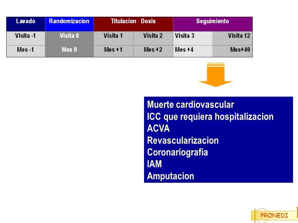 Muerte cardiovascular ICC que requiera hospitalizacion ACVA Revascularizacion Coronariografia IAM Amputacion