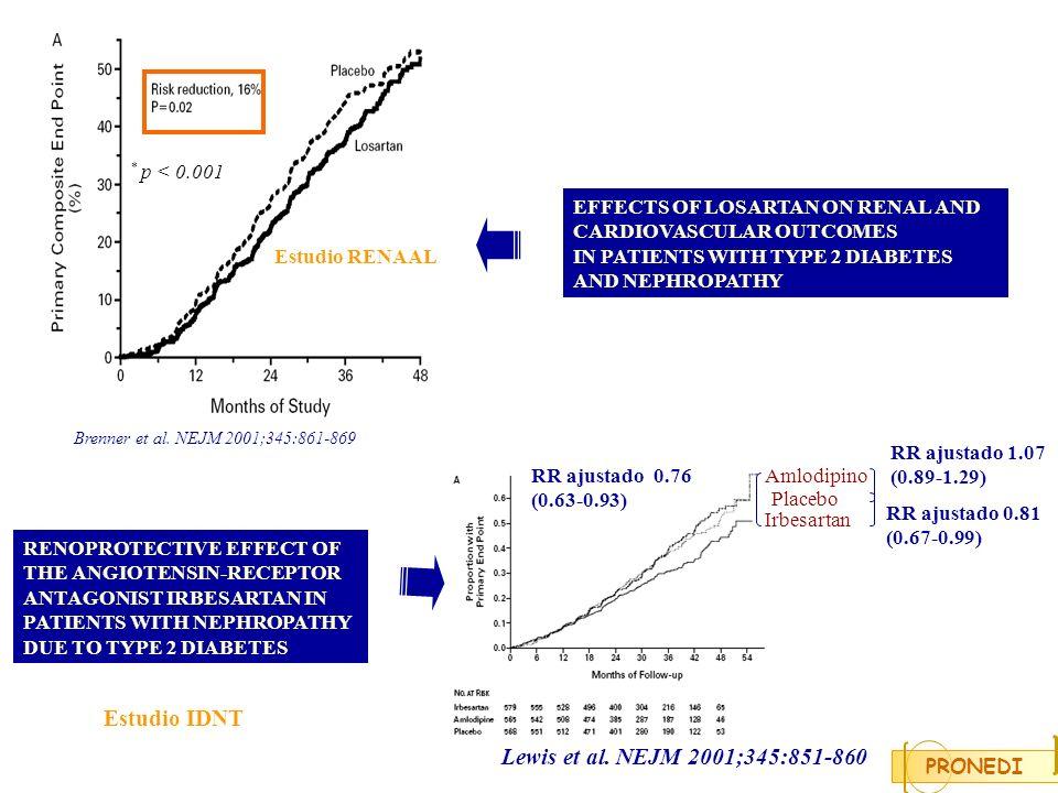 Irbesartan 150 mg Lisinopril 5 mg + Irbesartan 75mg PRONEDI Preseleccion del paciente CI Asignación de medicación Randomización aleatoria por bloques Estratificacion proteinuria 2 g/24 horas Visitas cuatrimestrales Lisinopril 10 mg20 mg 300 mg 10 mg + 150 mg 40 mg 600 mg 20 mg + 300 mg