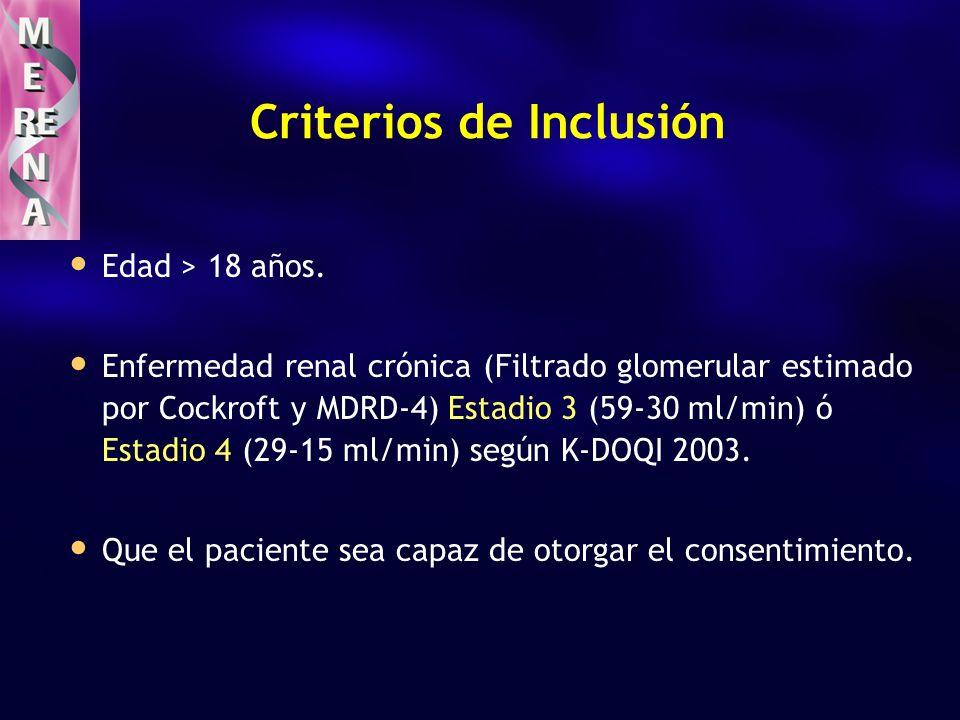 Criterios de Inclusión Edad > 18 años. Enfermedad renal crónica (Filtrado glomerular estimado por Cockroft y MDRD-4) Estadio 3 (59-30 ml/min) ó Estadi