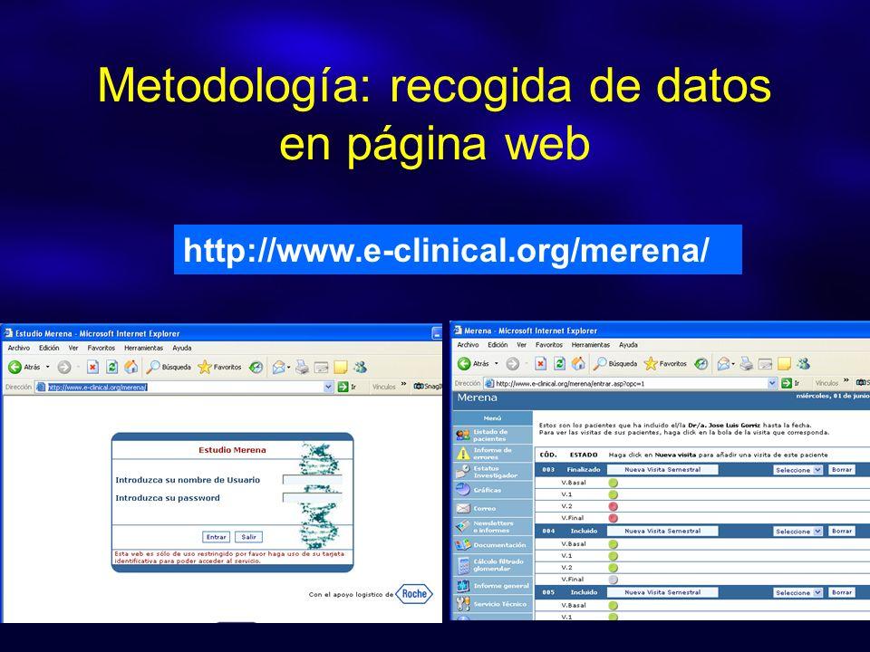 Metodología: recogida de datos en página web http://www.e-clinical.org/merena/