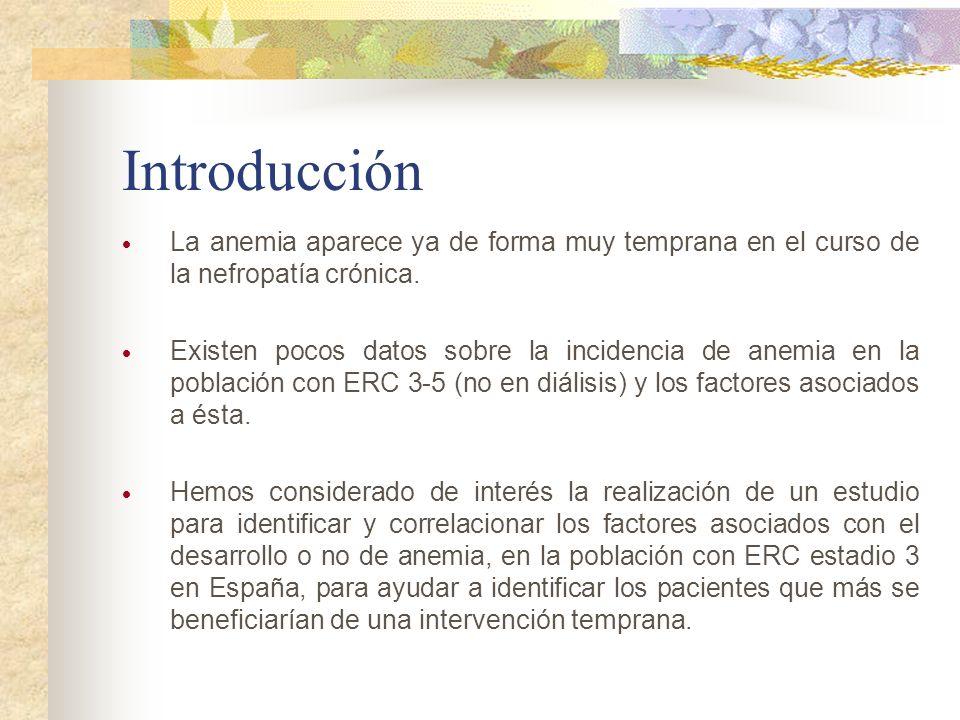 Introducción La anemia aparece ya de forma muy temprana en el curso de la nefropatía crónica. Existen pocos datos sobre la incidencia de anemia en la