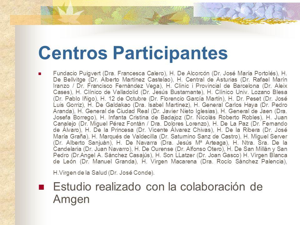 Centros Participantes Fundacio Puigvert (Dra. Francesca Calero), H. De Alcorcón (Dr. José María Portolés), H. De Bellvitge (Dr. Alberto Martínez Caste
