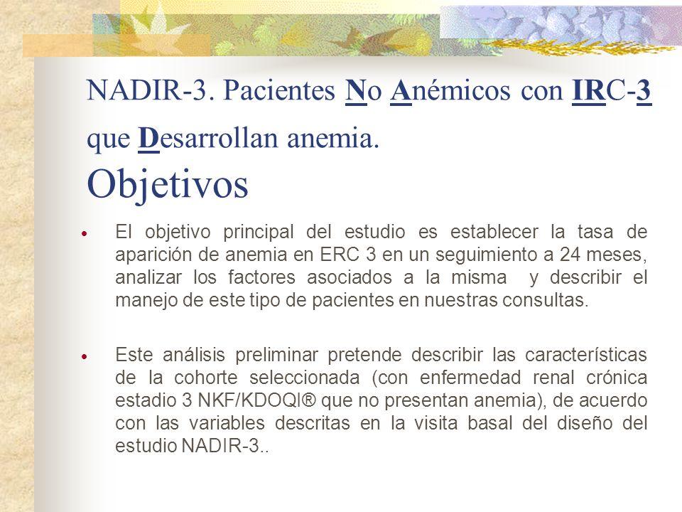 NADIR-3. Pacientes No Anémicos con IRC-3 que Desarrollan anemia. Objetivos El objetivo principal del estudio es establecer la tasa de aparición de ane