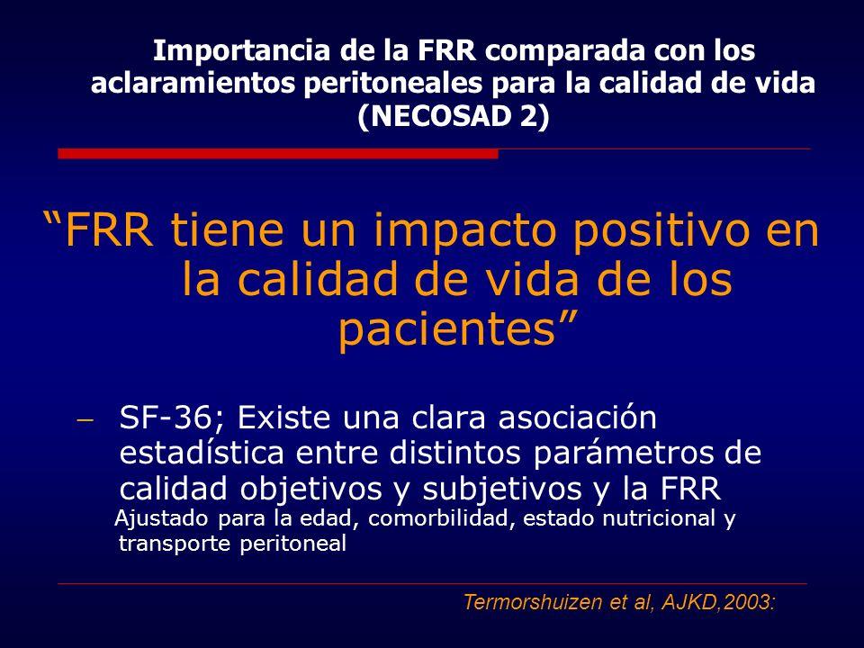 FRR tiene un impacto positivo en la calidad de vida de los pacientes SF-36; Existe una clara asociación estadística entre distintos parámetros de cali