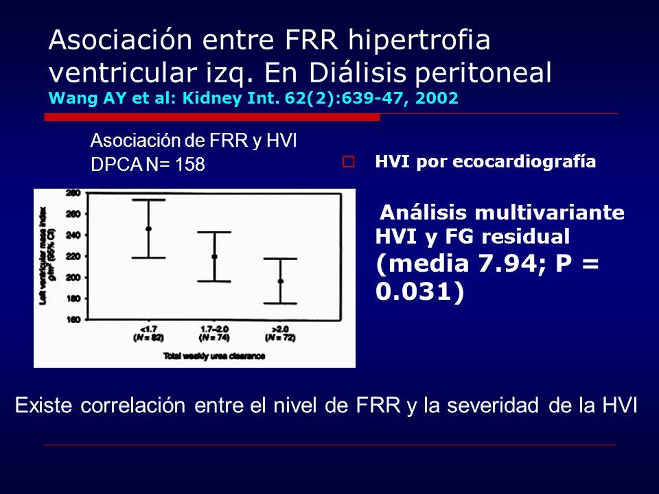 Asociación entre FRR hipertrofia ventricular izq. En Diálisis peritoneal Wang AY et al: Kidney Int. 62(2):639-47, 2002 HVI por ecocardiografía Análisi