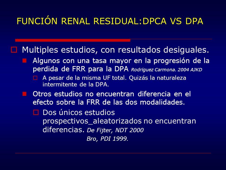 FUNCIÓN RENAL RESIDUAL:DPCA VS DPA Multiples estudios, con resultados desiguales. Algunos con una tasa mayor en la progresión de la perdida de FRR par