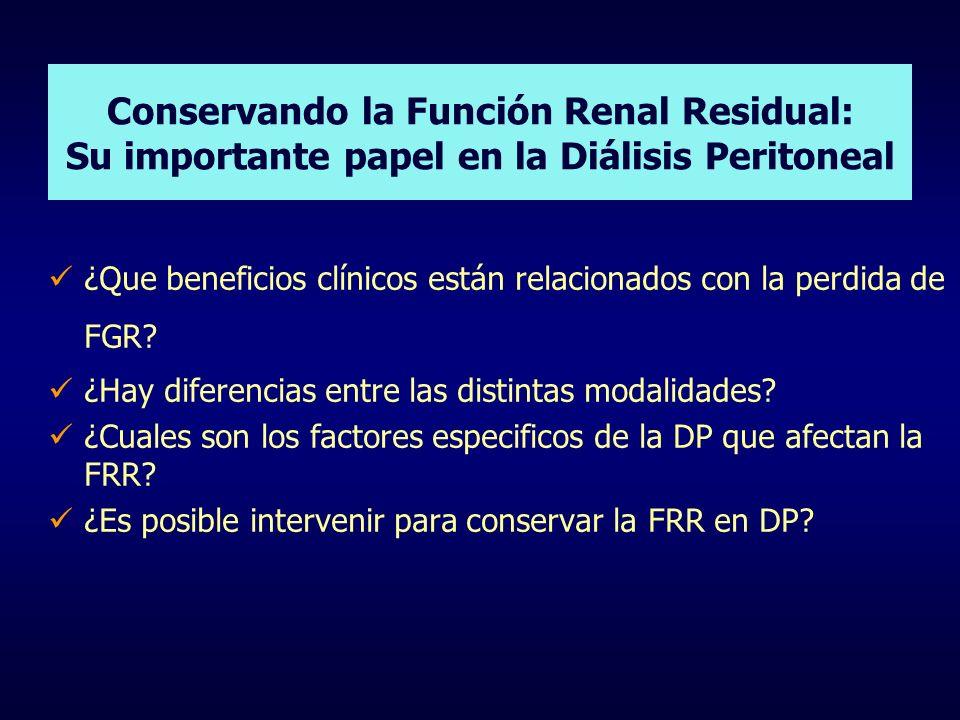 Conservando la Función Renal Residual: Su importante papel en la Diálisis Peritoneal ¿Que beneficios clínicos están relacionados con la perdida de FGR