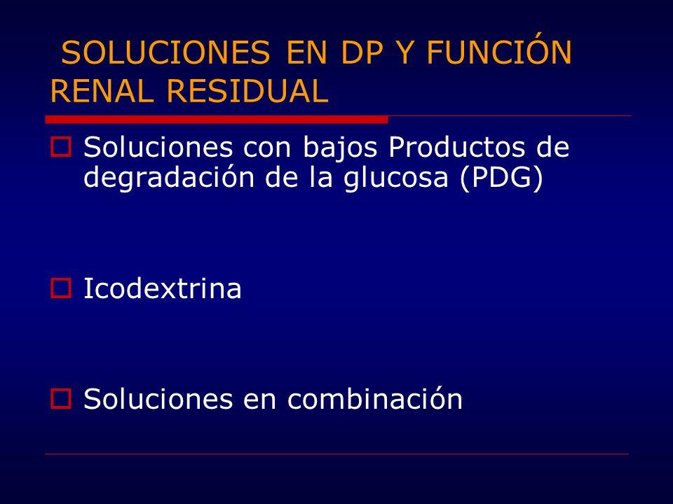 SOLUCIONES EN DP Y FUNCIÓN RENAL RESIDUAL Soluciones con bajos Productos de degradación de la glucosa (PDG) Icodextrina Soluciones en combinación