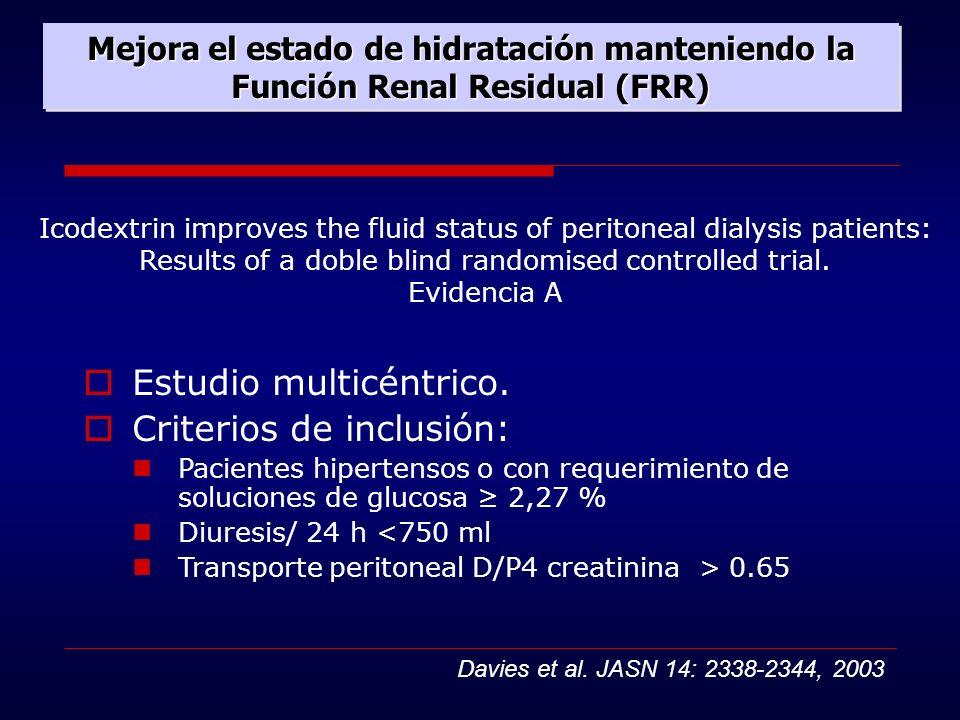 Mejora el estado de hidratación manteniendo la Función Renal Residual (FRR) Icodextrin improves the fluid status of peritoneal dialysis patients: Resu