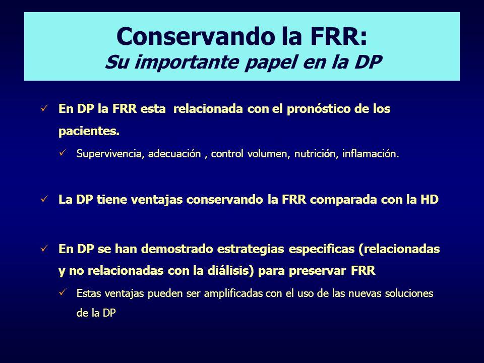 Conservando la FRR: Su importante papel en la DP En DP la FRR esta relacionada con el pronóstico de los pacientes. Supervivencia, adecuación, control
