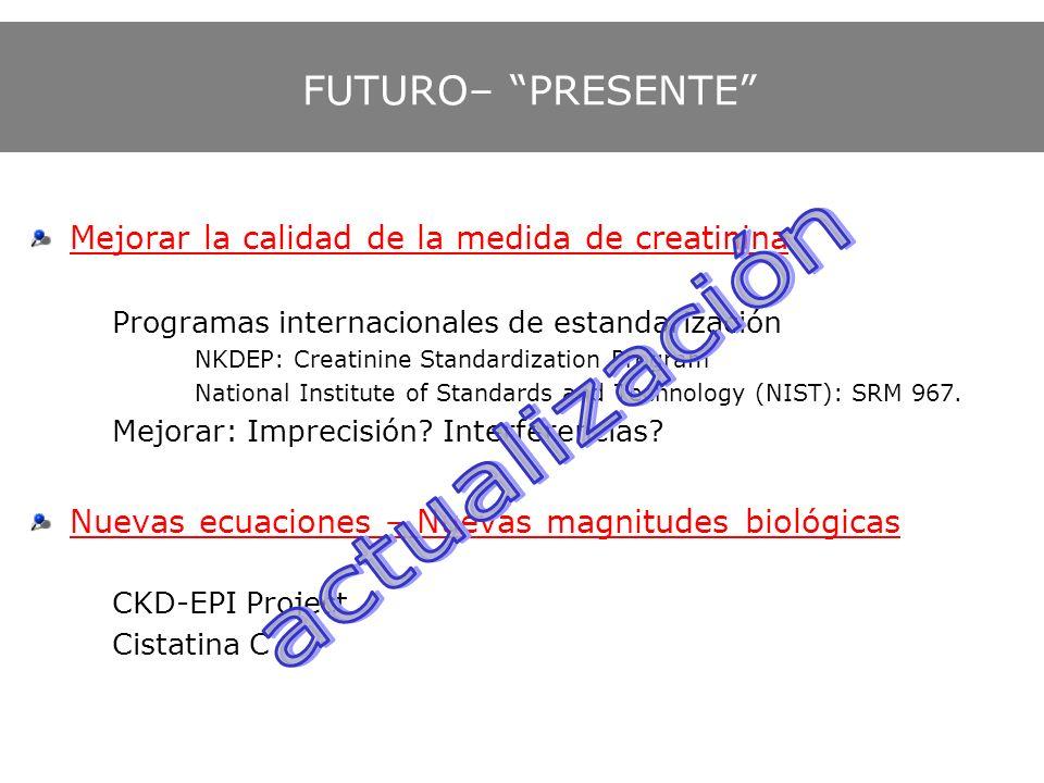 FUTURO– PRESENTE Mejorar la calidad de la medida de creatinina Programas internacionales de estandarización NKDEP: Creatinine Standardization Program