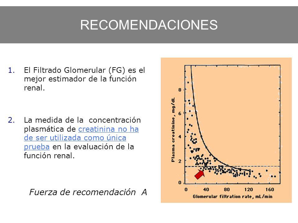 1.El Filtrado Glomerular (FG) es el mejor estimador de la función renal. 2.La medida de la concentración plasmática de creatinina no ha de ser utiliza