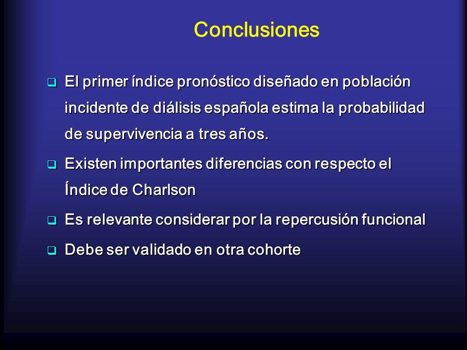 Conclusiones El primer índice pronóstico diseñado en población incidente de diálisis española estima la probabilidad de supervivencia a tres años. El