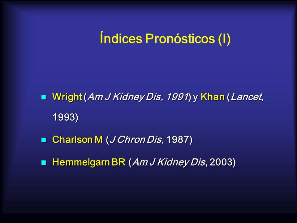 Índices Pronósticos (I) Wright (Am J Kidney Dis, 1991) y Khan (Lancet, 1993) Wright (Am J Kidney Dis, 1991) y Khan (Lancet, 1993) Charlson M (J Chron