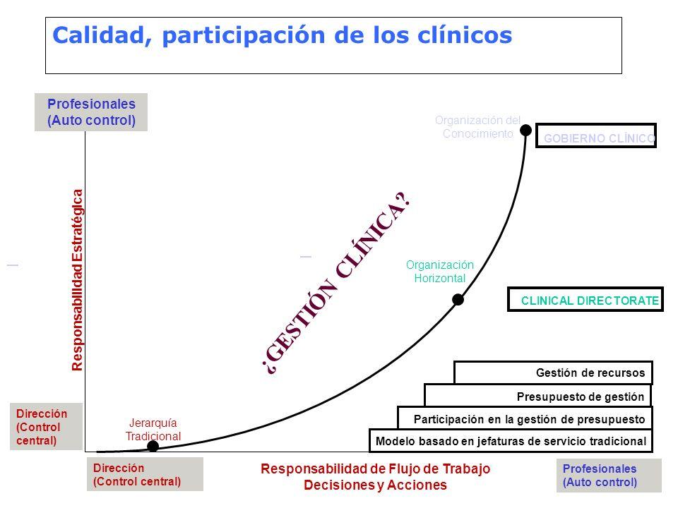 Calidad, participación de los clínicos Responsabilidad Estratégica Responsabilidad de Flujo de Trabajo Decisiones y Acciones Profesionales (Auto contr