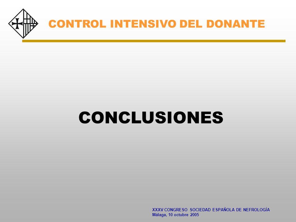 XXXV CONGRESO SOCIEDAD ESPAÑOLA DE NEFROLOGÍA Málaga, 10 octubre 2005 CONCLUSIONES CONTROL INTENSIVO DEL DONANTE