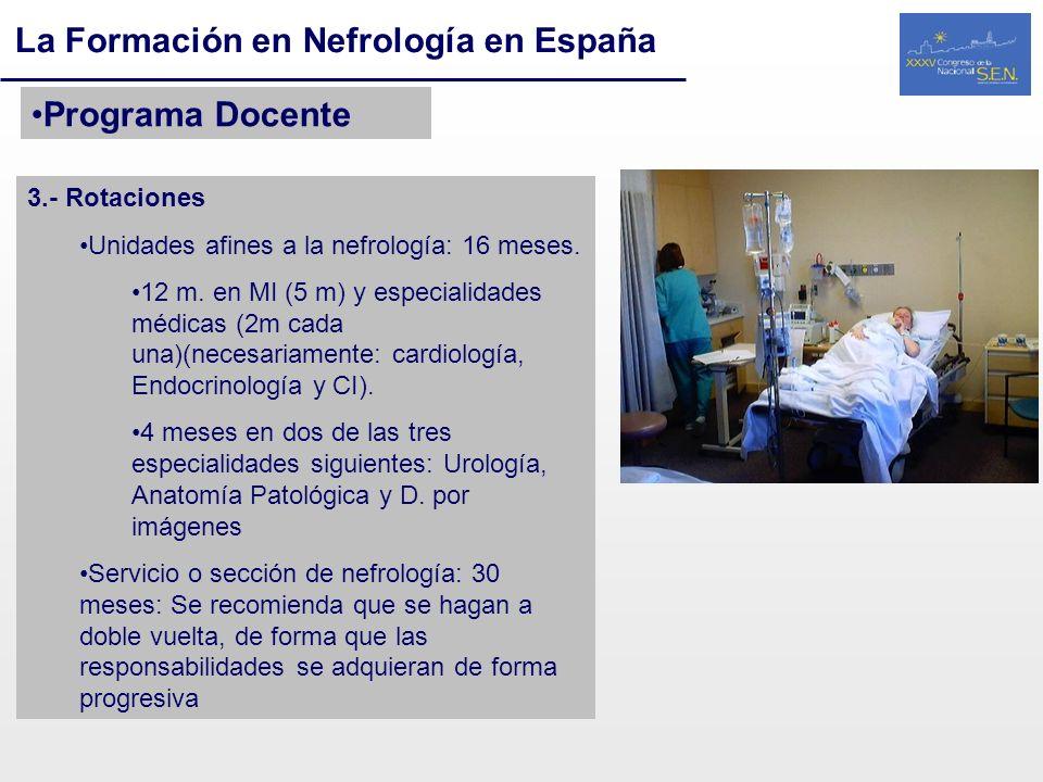 La Formación en Nefrología en España Programa Docente 3.- Rotaciones Unidades afines a la nefrología: 16 meses. 12 m. en MI (5 m) y especialidades méd