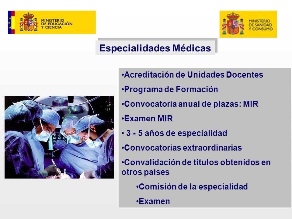 Especialidades Médicas Acreditación de Unidades Docentes Programa de Formación Convocatoria anual de plazas: MIR Examen MIR 3 - 5 años de especialidad